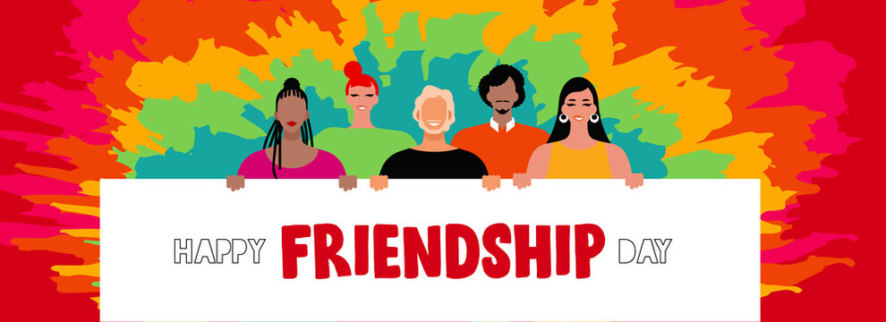 Friendship day banner of diverse friends together