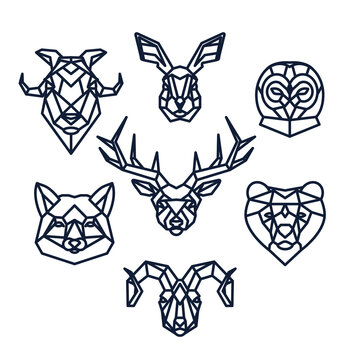 Geometric wild animals set for laser cut. Vector template.