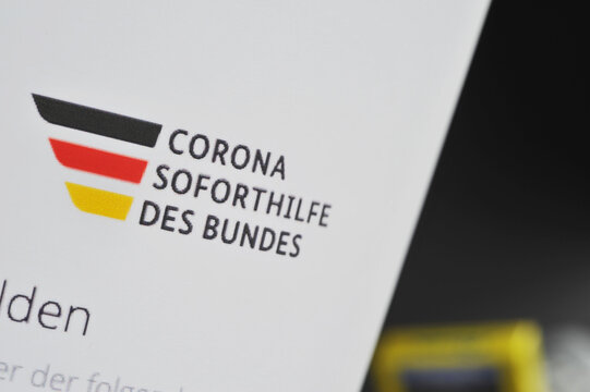Hamburg / Germany - July 8, 2020: close-up of a German application form for Corona emergency aid - Corona Soforthilfe des Bundes