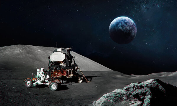 Astronaut on Moon surface. Earth planet on background. Apollo space program. Expedition to satellite. Elements of this image furnished by NASA