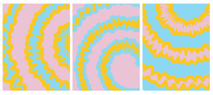 Set o 3 Tie Dye Vector Layouts. Yellow, Pink and Blue Tie Dye Decorative Geometric Backgrounds for Cover, Printing. Vibrant Colors Abstract Hippie Style Design.