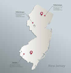 New Jersey map blue white card paper 3D vector