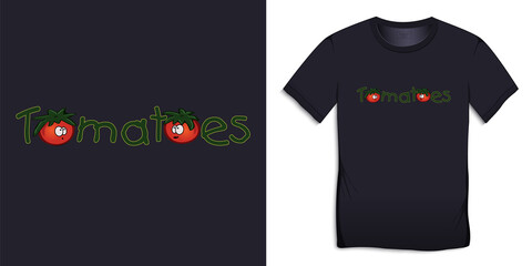 Print for t-shirt graphic design with text Tomatoes vector