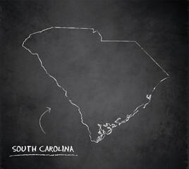South Carolina map card blackboard chalkboard vector