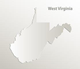 West Virginia map, card paper 3D natural vector
