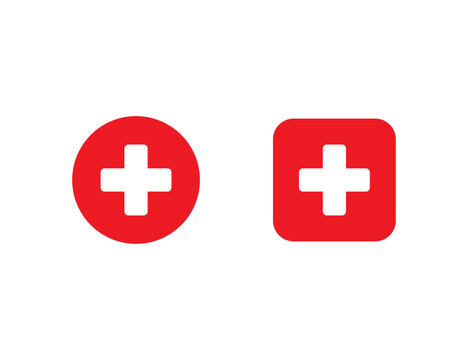 Red medical cross in circle and square. First aid sign. Hospital emblem. Emergency button. White plus icon in flat design. Isolated cross symbol. Pharmacy health care. Vector EPS 10.