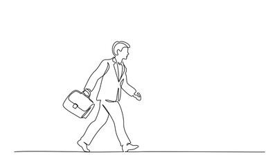 Man walking on street with briefcase. one line drawing