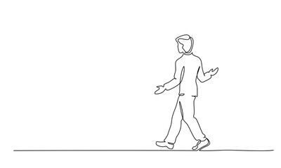 Young man walking surprised. One line drawing