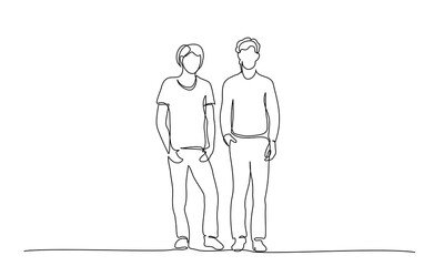 Continuous one line drawing. Group of teenager speaking