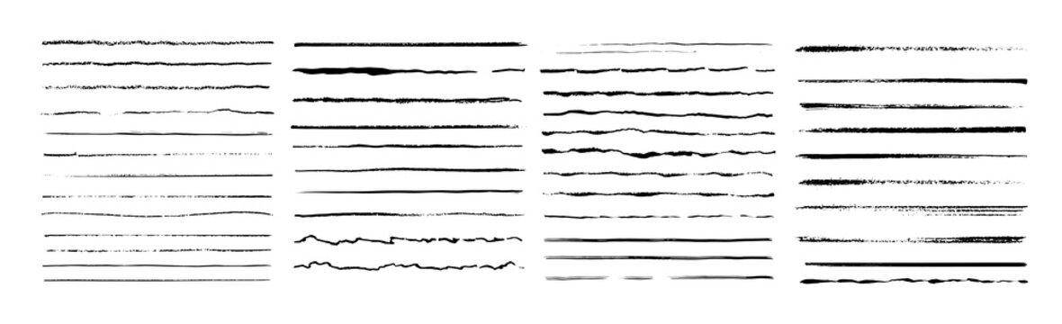 Set of artistic pen brushes. Vintage doodle underlines. Hand drawn grunge strokes. Scribble marker borders, sketch underlines. Vector illustration