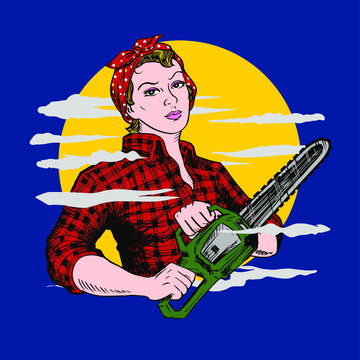 Lumberjill with chainsaw and posing like Rosie the riveter