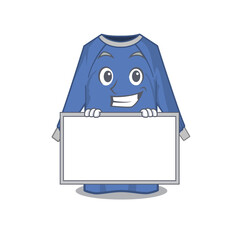 Wall Mural - disposable clothes cartoon design style standing behind a board
