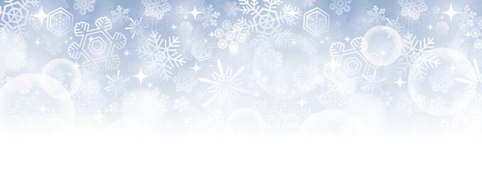 Foto op Canvas Wit 【冬・クリスマス素材】横長のキラキラした雪の結晶のベクター背景画像 青