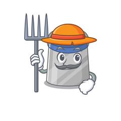 Wall Mural - Face shield mascot design working as a Farmer wearing a hat