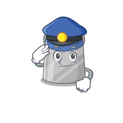 Wall Mural - Police officer cartoon drawing of face shield wearing a blue hat