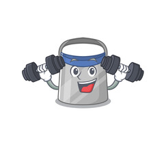 Wall Mural - Face shield mascot design feels happy lift up barbells during exercise