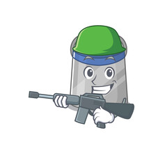 Wall Mural - A cartoon picture of Army face shield holding machine gun