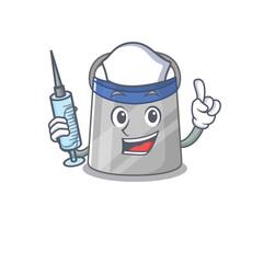 Wall Mural - Face shield humble nurse mascot design with a syringe