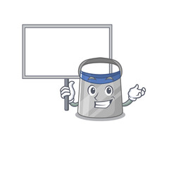 Wall Mural - Cartoon picture of face shield mascot design style carries a board