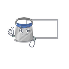 Wall Mural - Face shield cartoon design with Thumbs up finger bring a white board