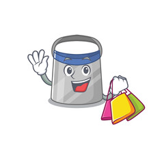 Wall Mural - wealthy face shield cartoon character with shopping bags