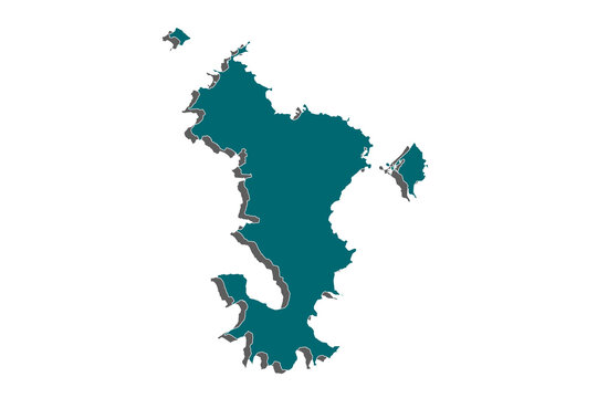 Blue map of Mayotte, Map of Mayotte on white background. Overseas region of France.Vector illustration eps 10. - Vector