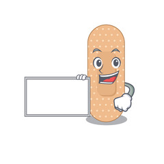 Wall Mural - Cartoon character style of standard bandage holding a white board