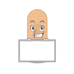 Wall Mural - Funny cartoon design style standard bandage standing behind a board