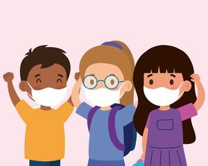 cute children wearing medical mask to prevent coronavirus covid 19, students children wearing protective medical mask vector illustration design