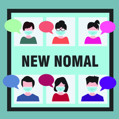 People are meeting and talking about their jobs,work from home and social distance ,new normal concept after the corona virus outbreak and social distancing alert