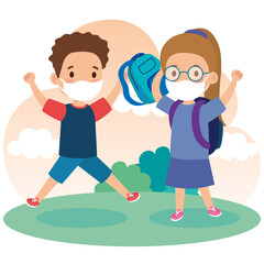 cute kids wearing medical mask to prevent coronavirus covid 19 with school bag, little students wearing protective medical mask vector illustration design