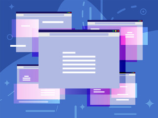 Fototapeta Browser window. Operating system user interface, gui. Computer software. Documents folder. Abstract background with ui panels. Flat vector illustration obraz