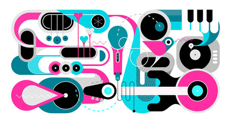 Music instruments and singing bird vector illustration. Art design with guitar, saxophones, piano keys, trumpets, microphone, gramophone and little bird isolated on a white background.