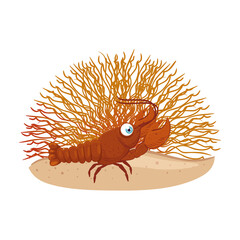 sea underwater life, lobster with coral on white background vector illustration design