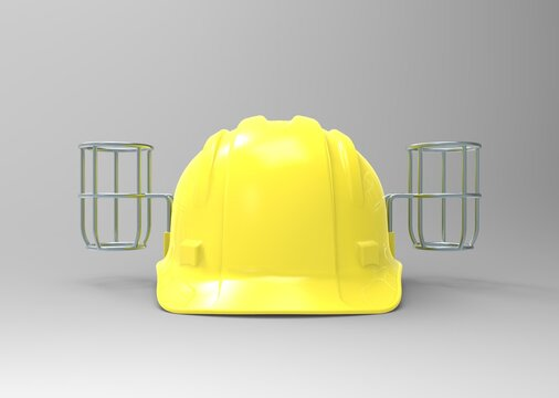 yellow beer hat helmet- 3D rendering