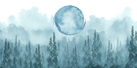 Garden Poster Light blue Watercolor group of trees - blue fir, pine, cedar, fir-tree. Forest on the slope, cliff, grief. Blue forest, landscape, fog forest landscape, slope, mountain. Full moon, eclipse. Isolated drawing