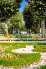 istanbul, turkey - AUG 18, 2015: park on the blue mosque territory. beautiful scenery of Sultan Ahmet Park on a sunny morning in summer