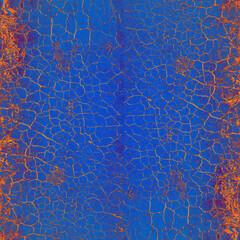 Hintergrund Oberfläche alte Farbe gerissen Risse orange Vintage Chabby Chic alt Patina pastell blau Struktur Dekor Patina abblättern rustikal antik edel leuchten schimmern glänzend Leder hell Wand