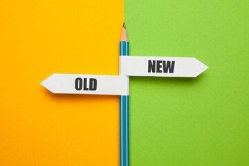 Pencil - direction indicator - choice of old or new way. Progress and new opportunities, motivation...