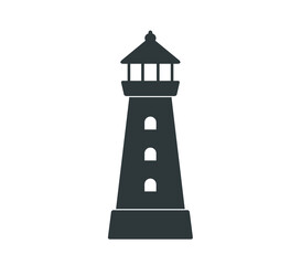 Lighthouse icon. Simple lighthouse building vector illustration.
