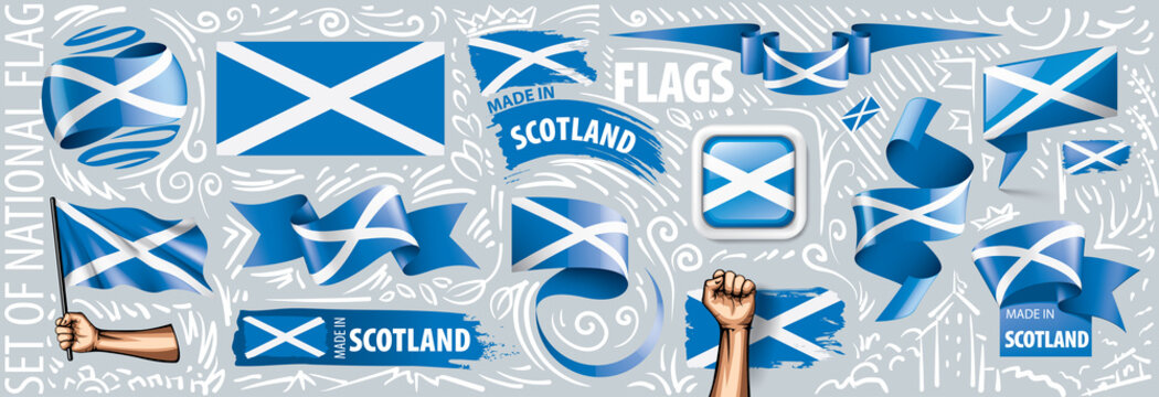Vector set of the national flag of Scotland in various creative designs