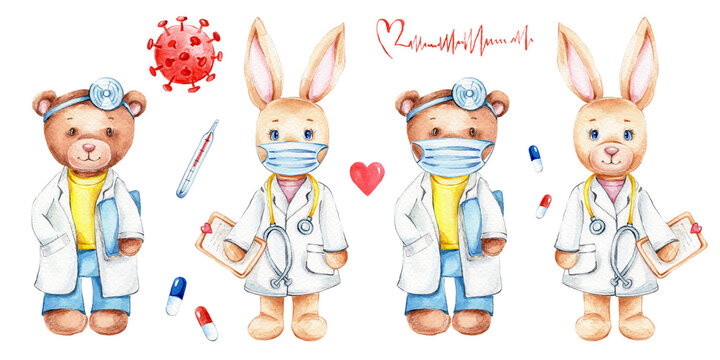 Cartoon cute doctors bunny and teddy bear and thermometer, virus, pills, tablets, mask, red heart; watercolor hand draw illustration; with white isolated background