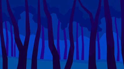 Foto auf Leinwand Dunkelblau vector illustration, abstract polygon night landscape, tree, foliage, forest