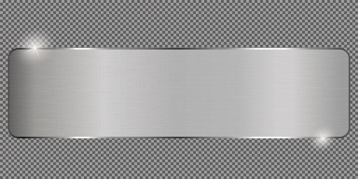 silver ribbon banner on transparent background
