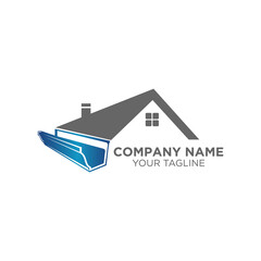 house roof gutter logo design. home pipe installation vector template illustration