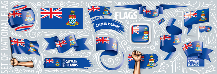 Fotobehang Graffiti collage Vector set of the national flag of Cayman Islands in various creative designs