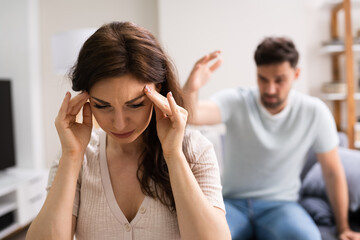 Unhappy Stressed Couple Family Arguing