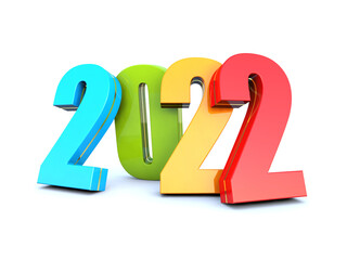 Happy New Year 2022 colored calendar background series 3D render