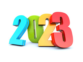Happy New Year 2023 colored calendar background series 3D render
