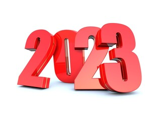 Happy New Year 2023 red calendar background series 3D render